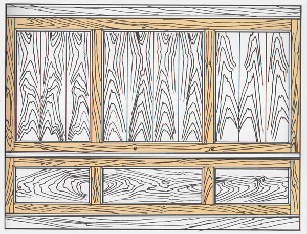 sketch of woodgrain room