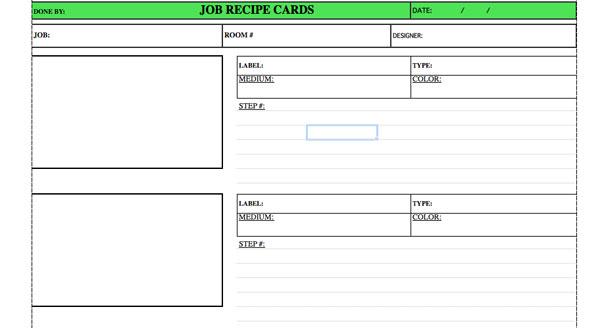 Job Recipe Cards From the Studio of Pierre Finkelstein – Sample Recipe Card